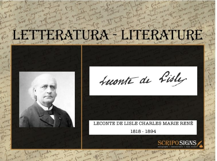 Autografo • Firma Leconte De Lisle Charles Marie René ...